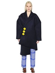 Jacquemus Oversized Asymmetric Boiled Wool Coat