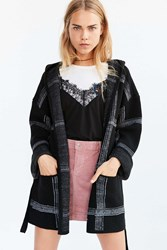 Obey Flynt Plaid Wrap Sweater Coat Black Multi