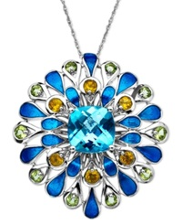 Town And Country Sterling Silver Necklace Blue Topaz 5 Ct. T.W. And Multistone Flower Pendant
