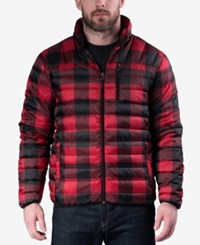 Hawke And Co. Outfitter Men's Big Tall Quilted Packable Down Jacket Red Buffalo Check