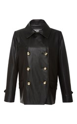 Alexis Mabille Black Organic Leather Peacoat