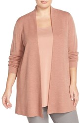 Plus Size Women's Eileen Fisher Long Straight Lightweight Merino Cardigan Toffee Cream