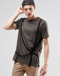 Asos Longline T Shirt With Military Strapping Detail Khaki Green