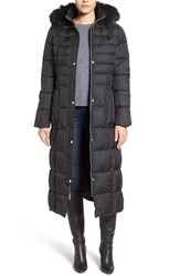 Larry Levine Women's Quilted Maxi Coat With Faux Fur Trim