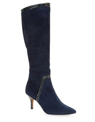 Donald J Pliner Tero Suede Knee High Boots Navy Blue