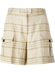 Msgm Checked Tweed Shorts Nude And Neutrals