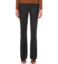 Max Mara Slim Fit Mid Rise Stretch Wool Trousers Navy