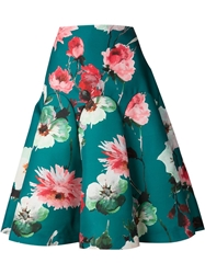 Delpozo Flower Print Voluminous Skirt Green