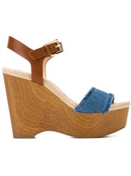 Michael Michael Kors Platform Wedge Sandals Blue