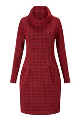 James Lakeland Cowl Neck Tunic Dress Red