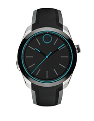 Movado Stainless Steel And Silicone Strap Smart Watch Black