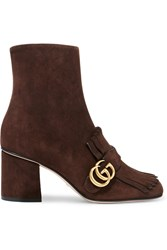 Gucci Fringed Suede Ankle Boots Chocolate