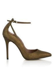 Reiss Leighton Metallic Ankle Strap Court Shoe Bronze