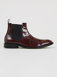 Topman Selected Homme 'Sel Manuel Chelsea' Burgundy Leather Chelsea Boots Red