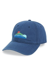 Harding Lane Mountains Needlepoint Baseball Cap Navy Blue