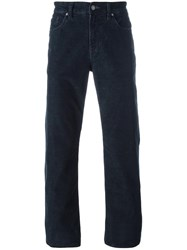 7 For All Mankind Corduroy Effect Straight Leg Trousers Blue
