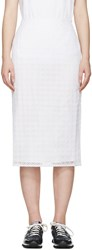 Edit White Embroidered Organza Skirt