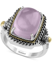 Effy Collection Serenity By Effy Rose Quartz Statement Ring 7 1 4 Ct. T.W. In Sterling Silver And 18K Gold Two Tone
