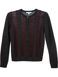 Carven Lace Panel Cardigan Grey