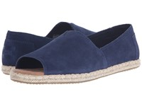 Toms Alpargata Open Toe Navy Suede Women's Flat Shoes Blue