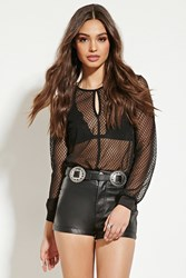 Forever 21 Fishnet Lace Bodysuit Black
