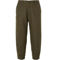 Musto Shooting Tapered Cropped Checked Wool Blend Tweed Breeks Trousers Green