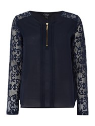 Lipsy Long Sleeve Zip Front Lace Top Navy