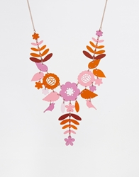 Tatty Devine Mexican Embroidery Necklace Pinkorange