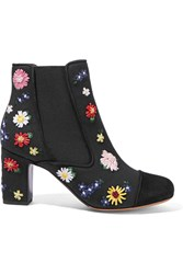 Tabitha Simmons Micki Meadow Suede Paneled Embroidered Canvas Ankle Boots Black