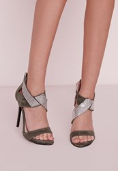 Missguided Diamante Ankle Strap Heeled Sandals Khaki Beige