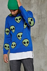 Forever 21 Alien Emoji Sweater Blue Green