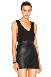 Pam And Gela Side Lace Up Top In Black