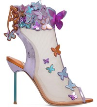 Sophia Webster Harmony Butterfly Leather And Mesh Booties Pink