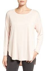Bobeau Women's High Low Long Sleeve Tee Blush