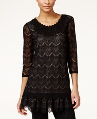 Styleandco. Style And Co. Eyelet Lace Tunic Only At Macy's Deep Black