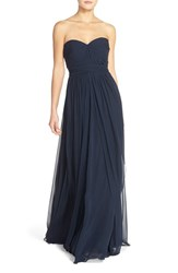 Women's Jenny Yoo 'Mira' Convertible Strapless Pleat Chiffon Gown Navy