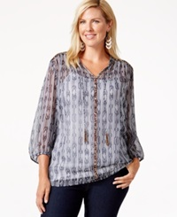 Charter Club Plus Size Printed Peasant Top Only At Macy's