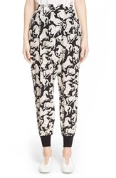 Women's Stella Mccartney 'Joey' Horse Print Silk Pants