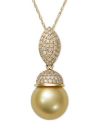 Macy's Cultured Golden South Sea Pearl 9Mm And Diamond 3 8 Ct. T.W. Pendant Necklace In 14K Gold Yellow Gold