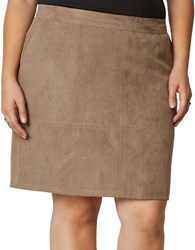 Junarose Plus Emerson Faux Suede A Line Skirt Brown