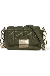 Karl Lagerfeld Quilted Leather Shoulder Bag Army Green