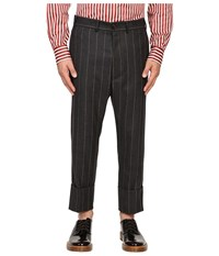 Vivienne Westwood Pinstripe Flannel James Bond Cropped Grey Pinstripe Men's Casual Pants Gray