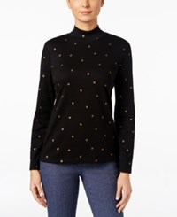 Karen Scott Printed Mock Turtleneck Top Only At Macy's Deep Black
