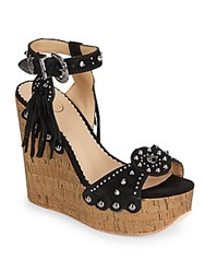 Ash Bliss Studded Suede And Cork Wedge Sandals Black Desert