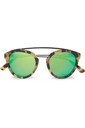 Westward Leaning Flower 2 Aviator Style Tortoiseshell Acetate Mirrored Sunglasses Tortoiseshell Green