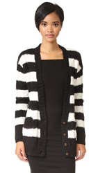 Current Elliott The V Neck Cable Cardigan Black And White Stripe Cable