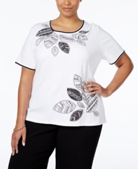 Alfred Dunner Plus Size Embellished Top White
