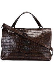 Zanellato Crocodile Effect Satchel Grey