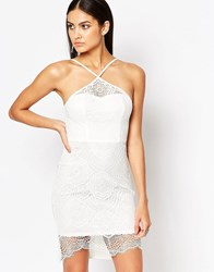 Ariana Grande For Lipsy White Sculpted Lace Pencil Dress White