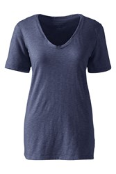 Lands' End Cotton Modal Slub V Neck Tee Navy